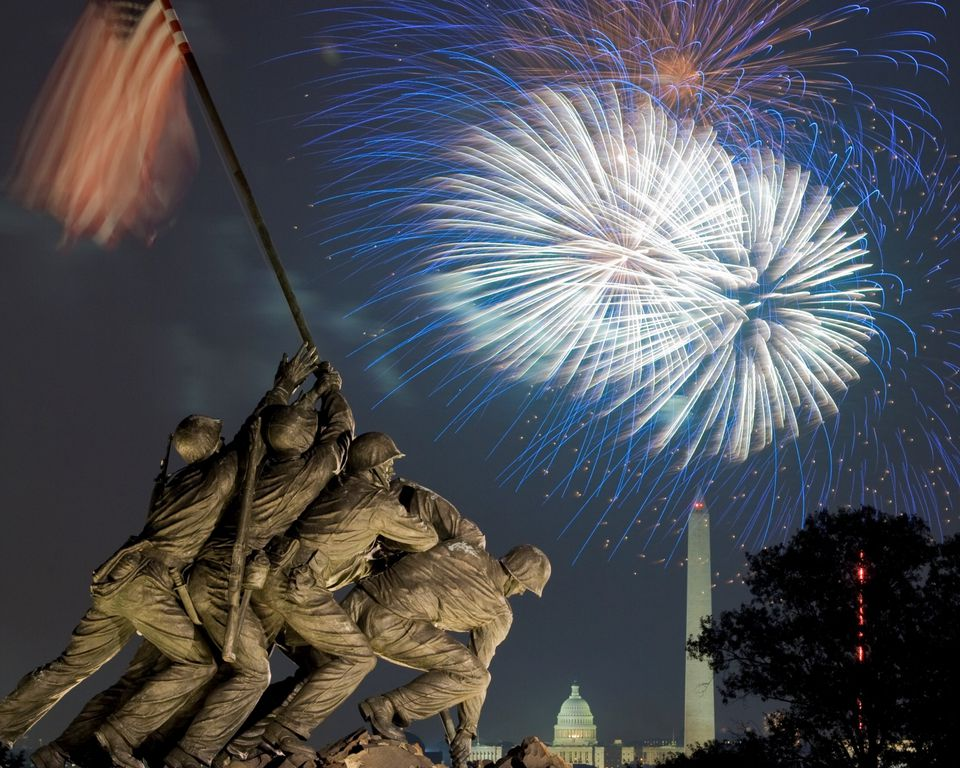 DC fireworks and the Iwo Jima Memorial
