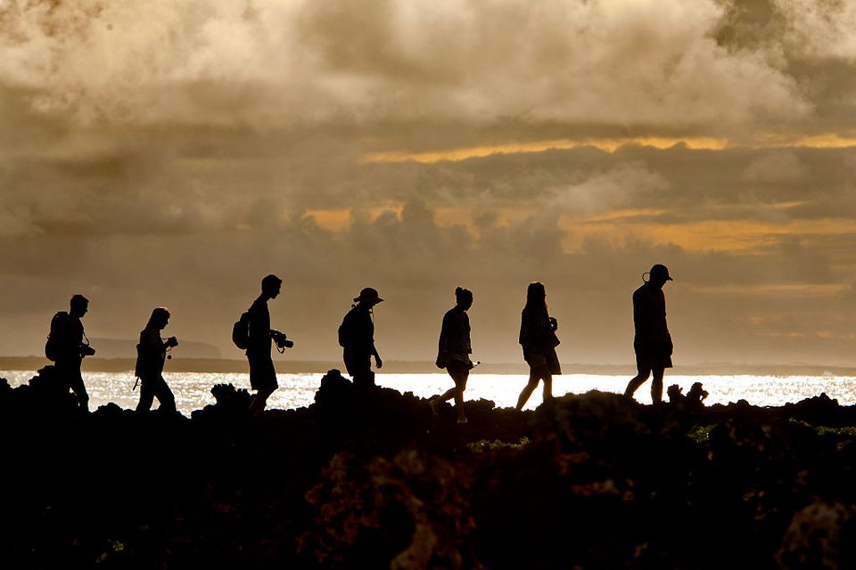 hikers on the Galapagos Islands
