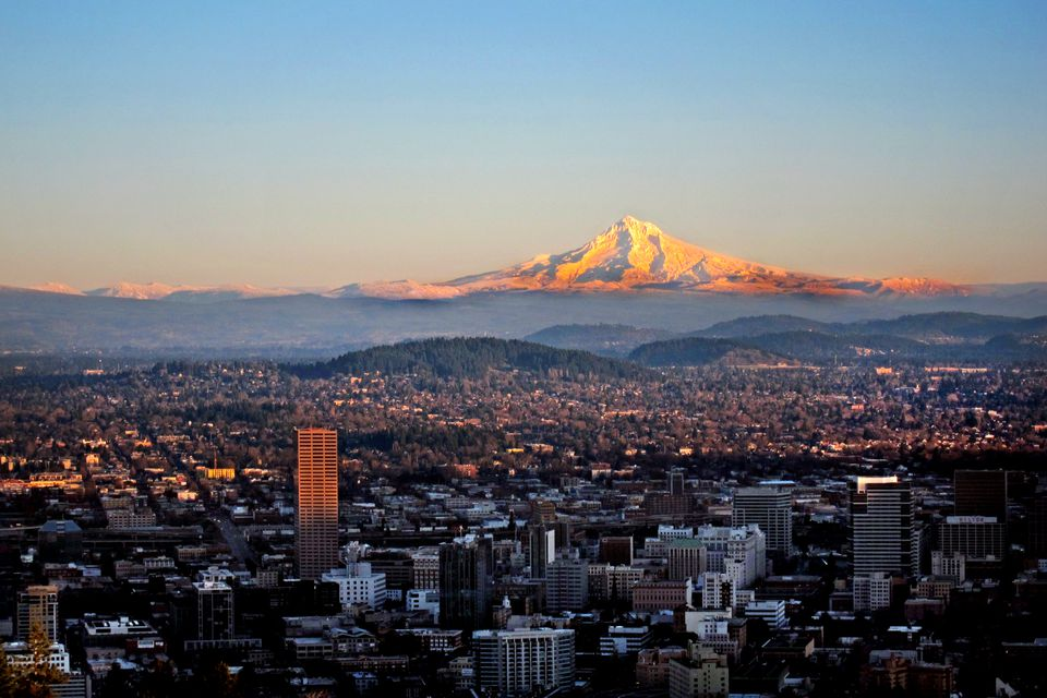 View of Mt Hood from Portland, Oregon