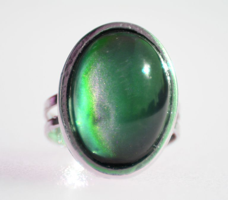 Most mood rings change from black to yellow, green and then blue.