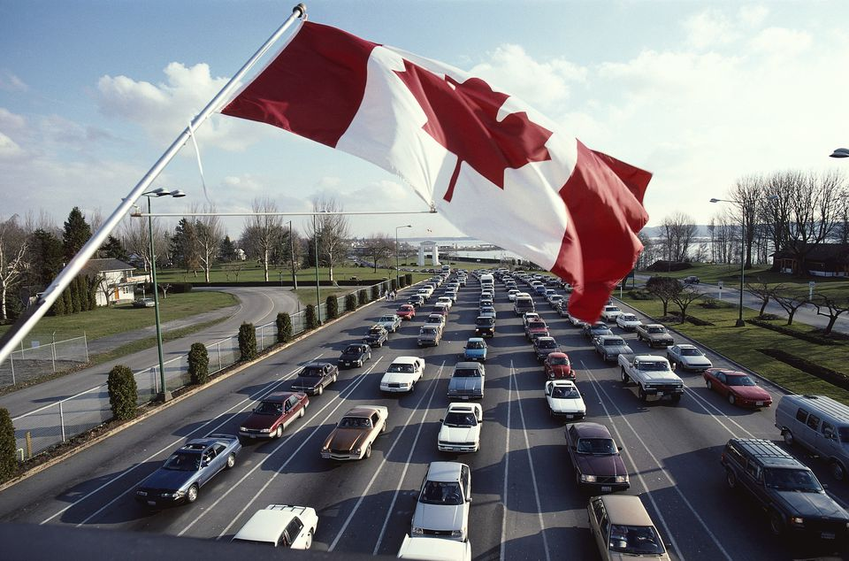 Car Lineup at Canadian Border