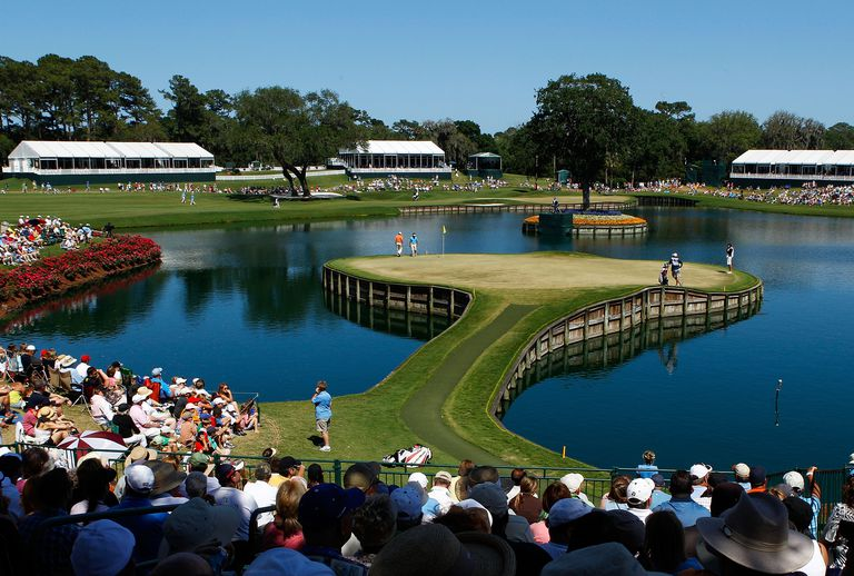 The 17th green at TPC Sawgrass, site of The Players Championship