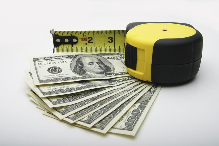 Hundred dollar bills and a measuring tape.
