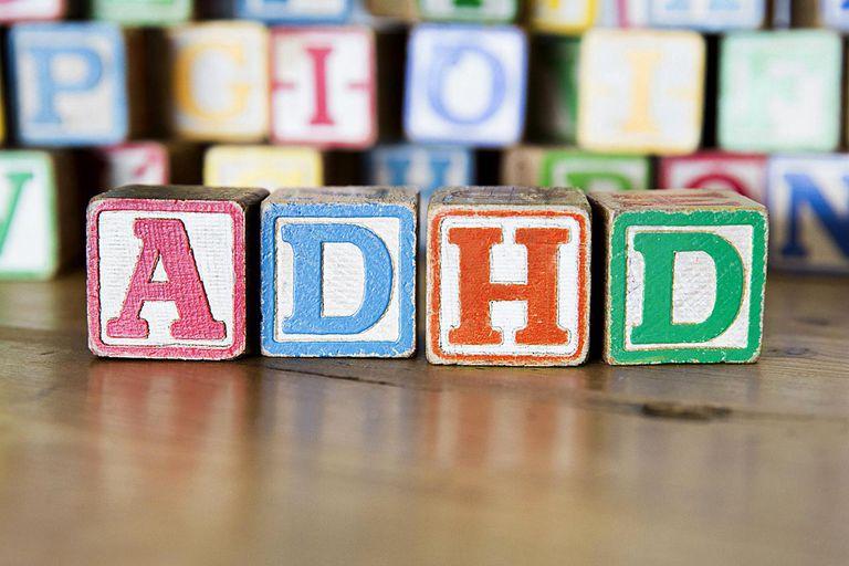 Vintage childrens alphabet blocks spelling ADHD