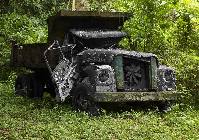 truck in Colombian forest for article on verb conjugation
