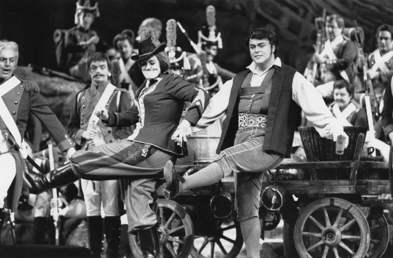 The great Italian tenor Luciano Pavarotti (1935-2007) and amazing Australian soprano Joan Sutherland (1926-2010) star in a production of Donizetti's comic opera 'La Fille du Regiment' at Covent Garden Opera House in London on May 27, 1966.