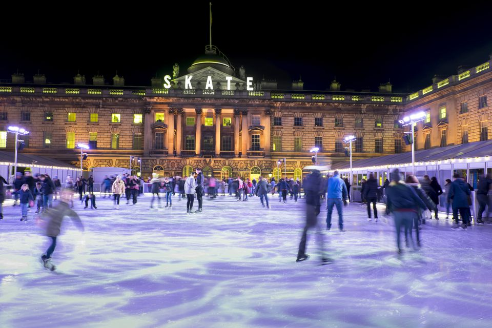 Ice skating, Somerset House, London, England, United Kingdom, Europe