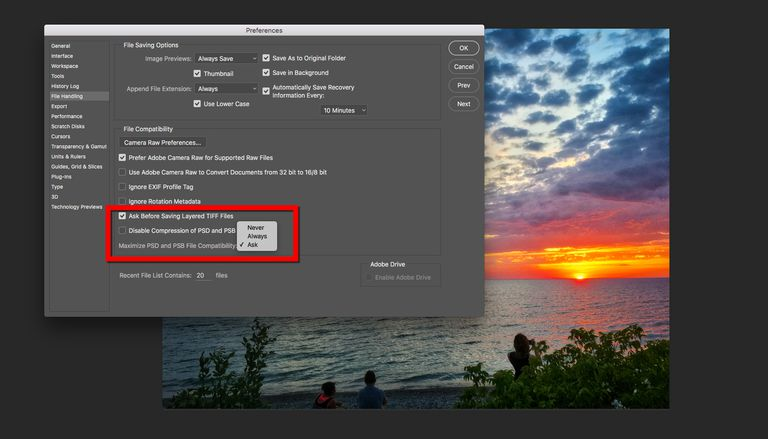 The Maximize Compatibility options in Photoshop Preferences are shown