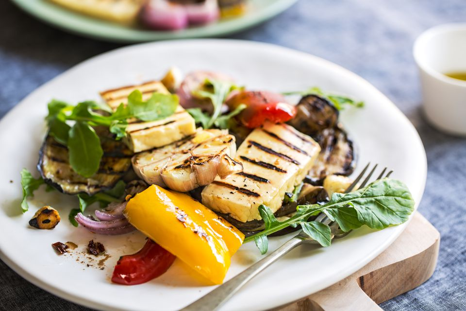 Grilled Halloumi with Aubergine,Pepper,Garlic and Rocket salad