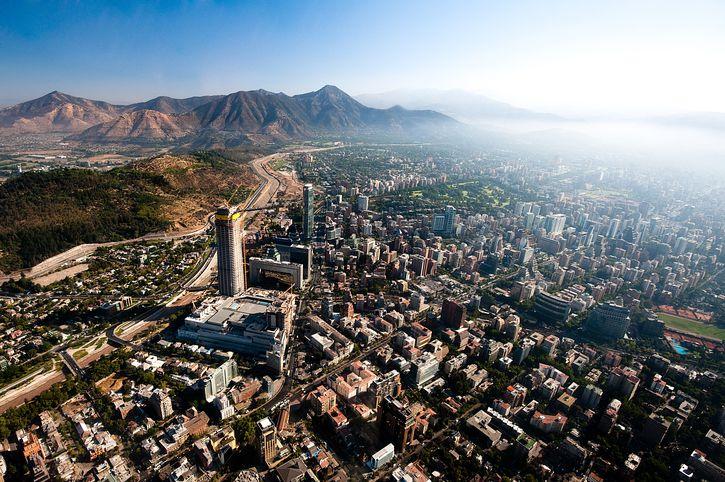 Aerial view of Santiago.