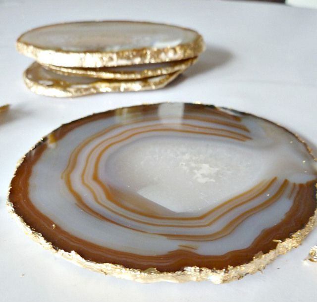 DIY Gold Agate Coasters