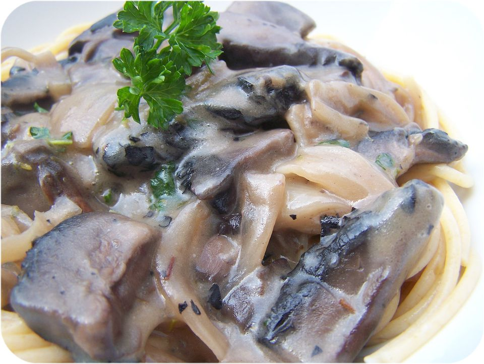 Vegetarian mushroom stroganoff over noodles