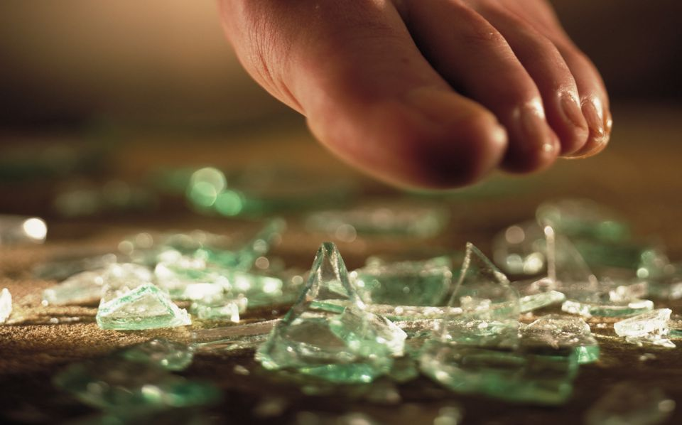 Foot and Shattered Glass