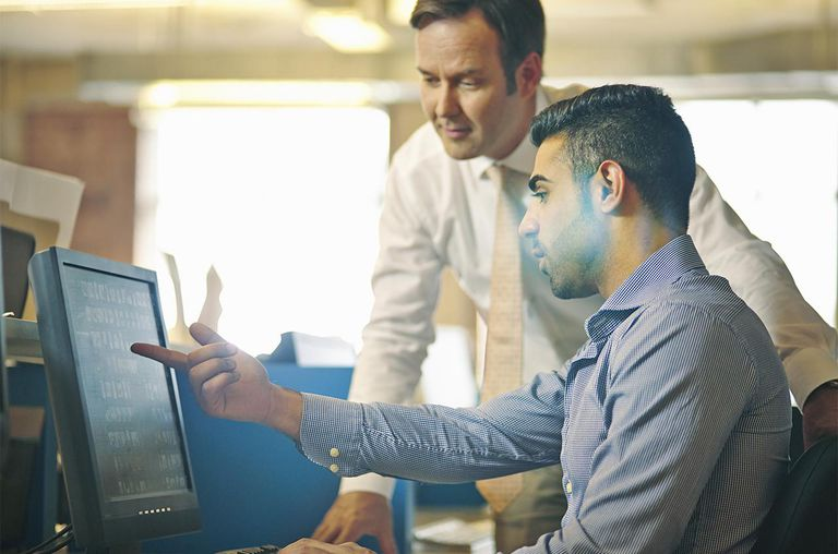 Man showing colleague work on computer