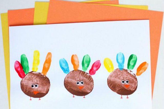 potato print turkey thank you card craft for kids