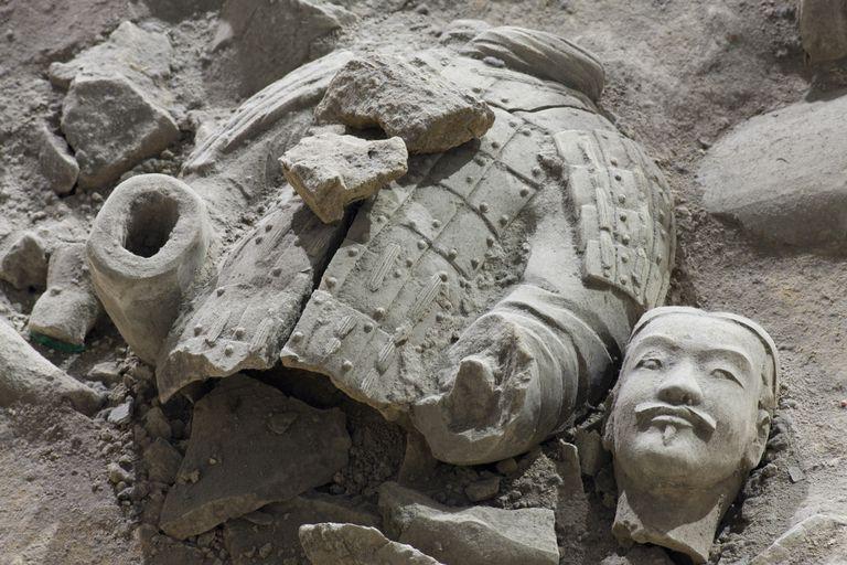 Broken terracotta soldier at Qin Shi Huangdi Tomb