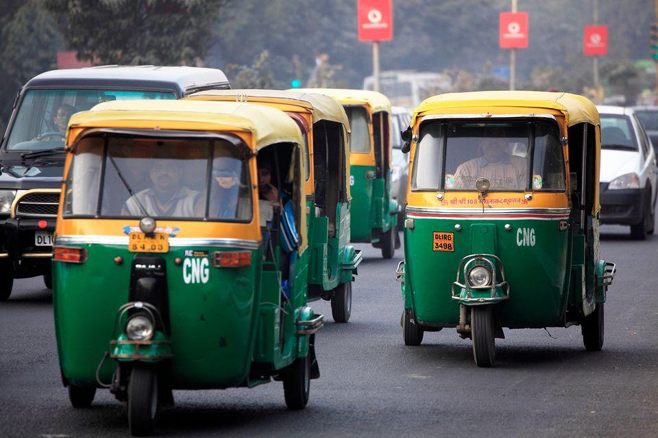 Tuk-tuks aka auto rickshaw on the street.