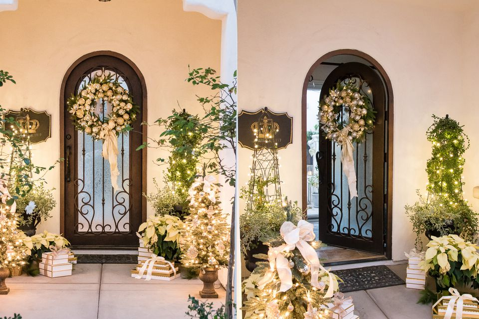 Silver and gold christmas front porch