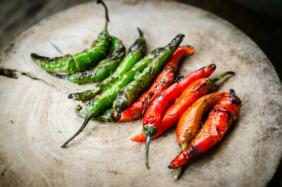 Roasted chili peppers