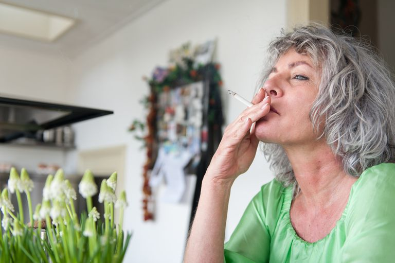 middle aged woman smoking