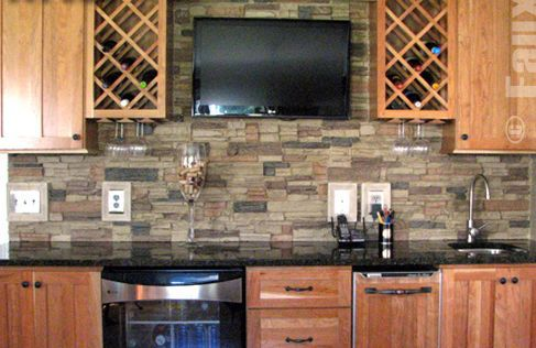 Faux stone on kitchen wall