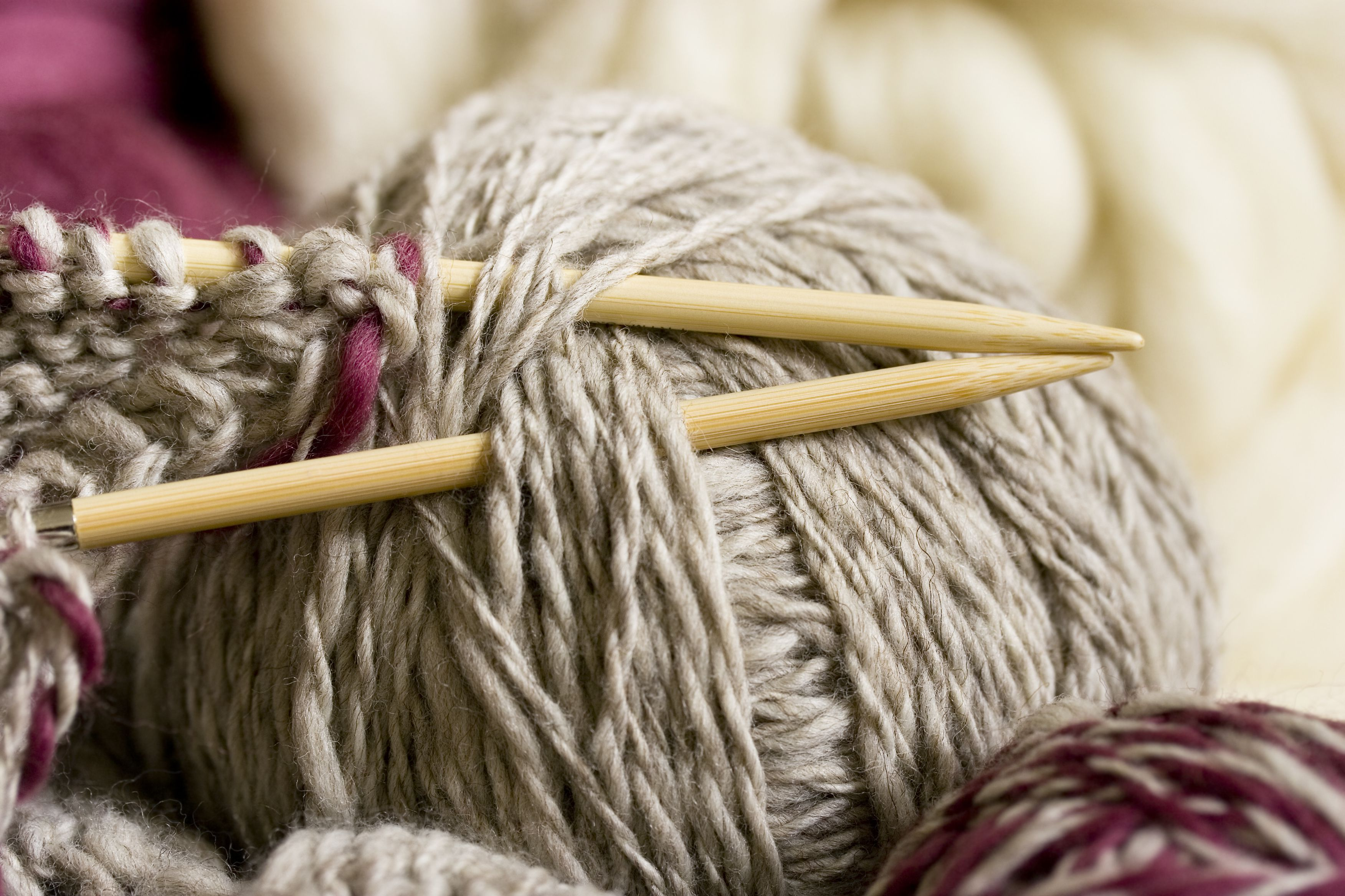 Knitting Work From Home : Knitting with bamboo needles