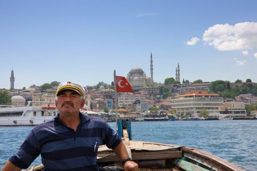 Sailing past Istanbul, Turkey