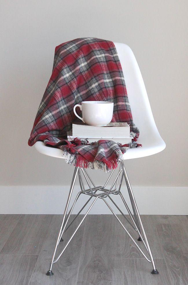DIY Fringed Flannel Throw Blanket