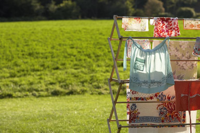 Vintage Linens Drying on Drying Rack