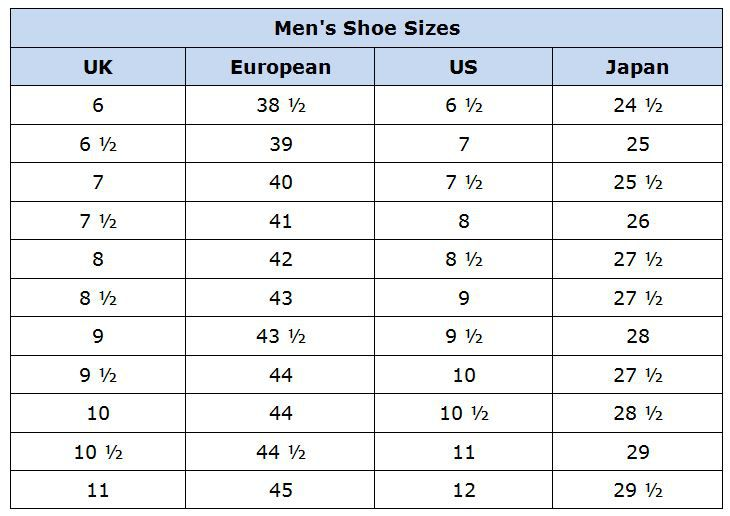 Mens Shoe Chart Peopledavidjoel