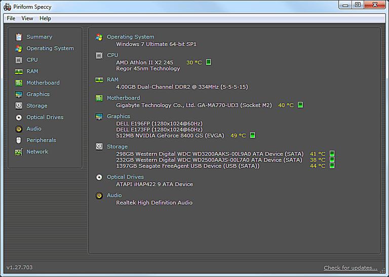 Screenshot of Speccy v1.27 in Windows 7