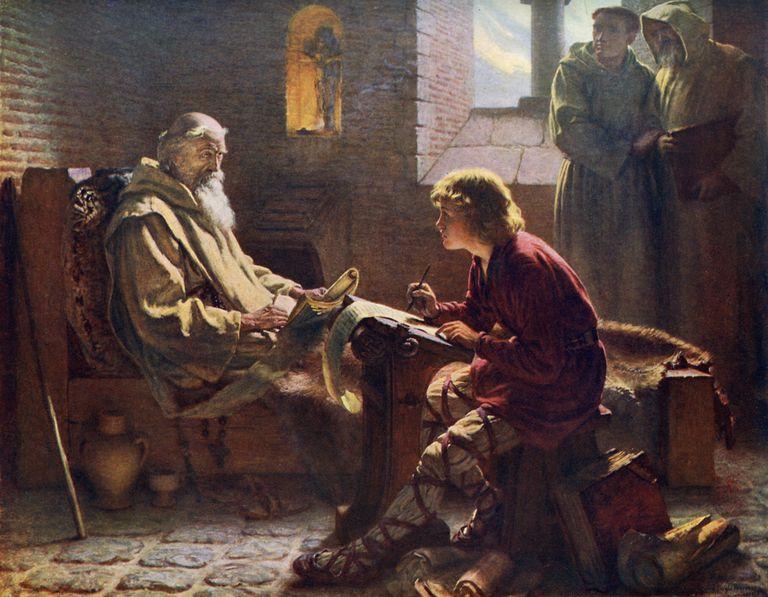 'The Venerable Bede Translating the Last Chapter of St John', 1926.Artist: James Doyle Penrose