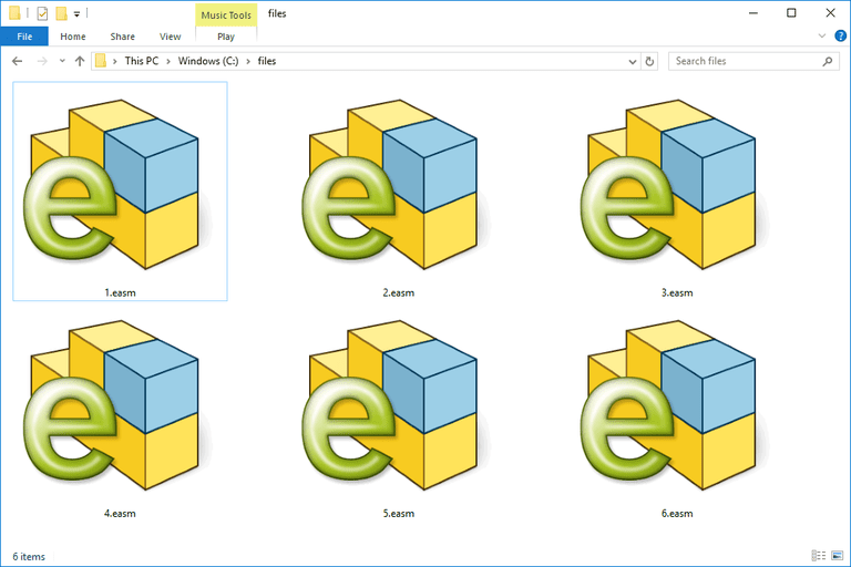 Screenshot of several EASM files in Windows 10 that open with eDrawings