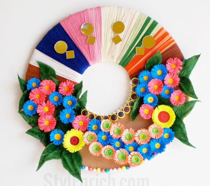 10 paper flower wreaths you can diy recycled materials flower wreath mightylinksfo Choice Image