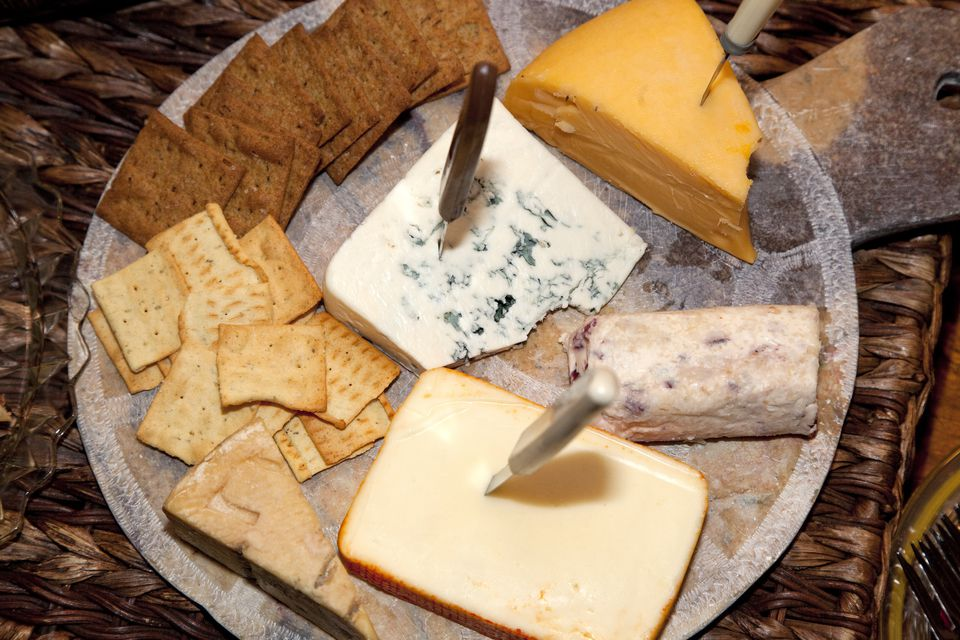 Platter of cheese and cracker snacks