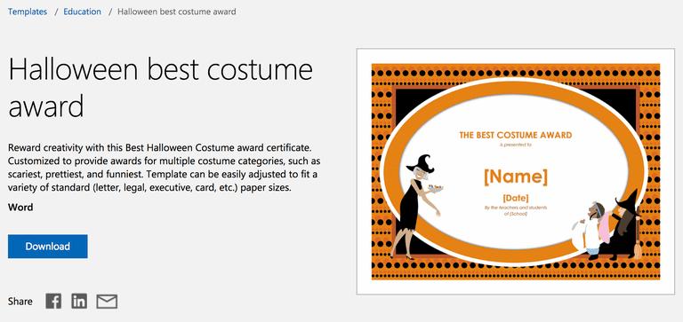 Free halloween templates for microsoft word halloween best costume award template for microsoft word yadclub Gallery