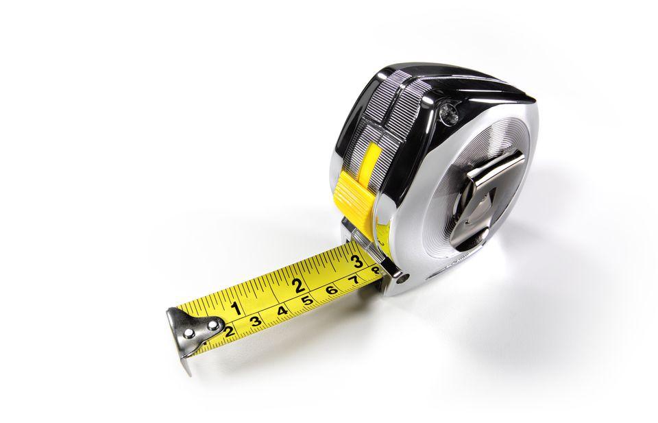 Builders metal tape measure close up
