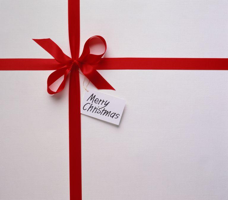 White Christmas present with tag saying 'Merry Christmas'