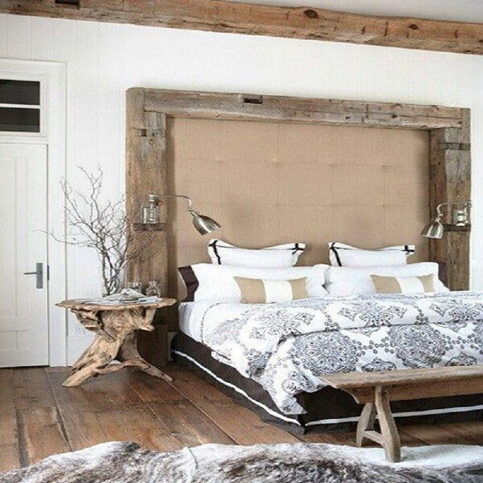 Gorgeous rustic bedroom with repurposed wood.
