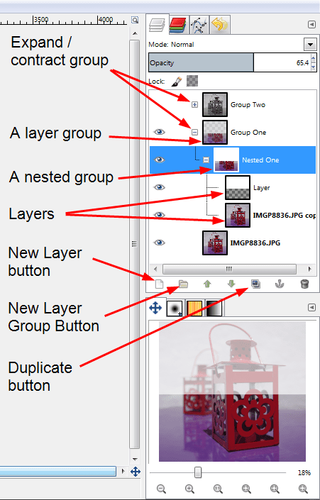 Layer Groups in GIMP 2.8