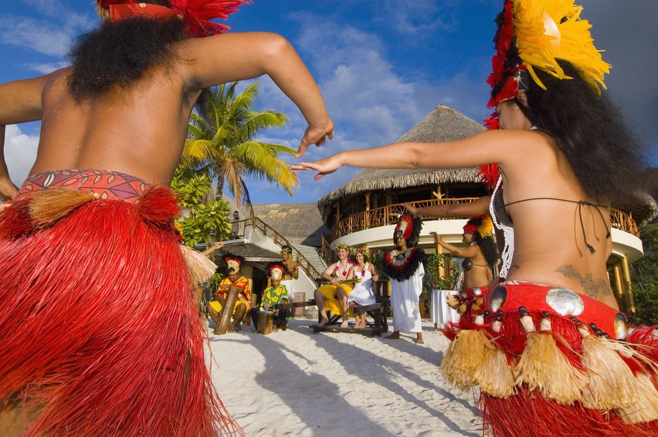 Tahitians Dancing at a Wedding Ceremony for an American Couple