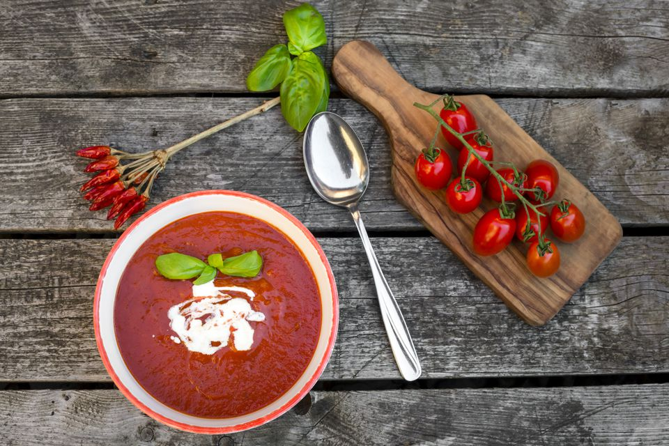 Fresh Tomato Soup with Chili Pepper Flakes