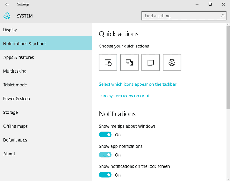 Configuring Notifications in Windows 10