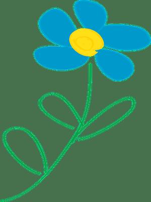 Whimsical blue flower clip art