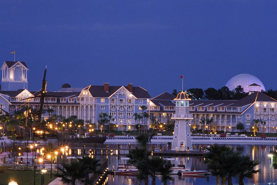 Picture of Disney's Beach Club Resort and its beach as night approaches.