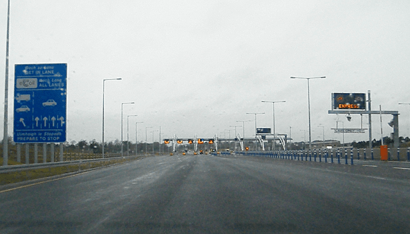 Toll Plaza coming up on the M3