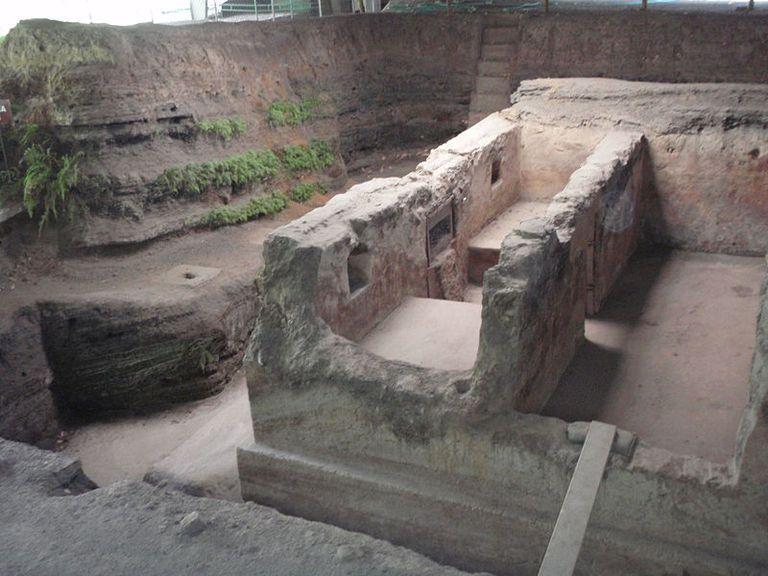 Remains of Maya village of Joya de Ceren buried by volcanic eruption around A.D. 600