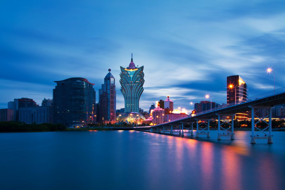 Macau's skyline from the sea.