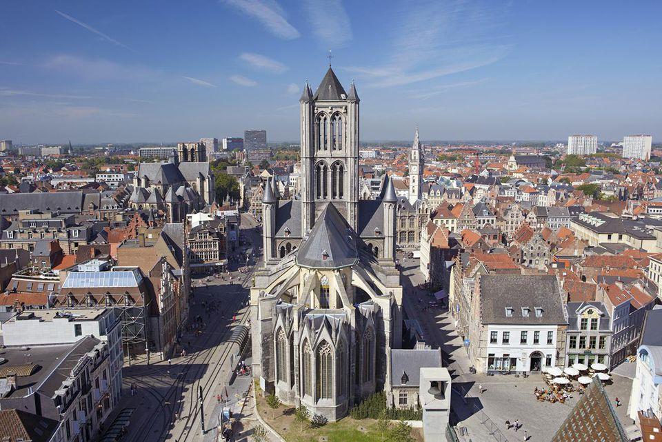 St Nicholas Church and Ghent skyline