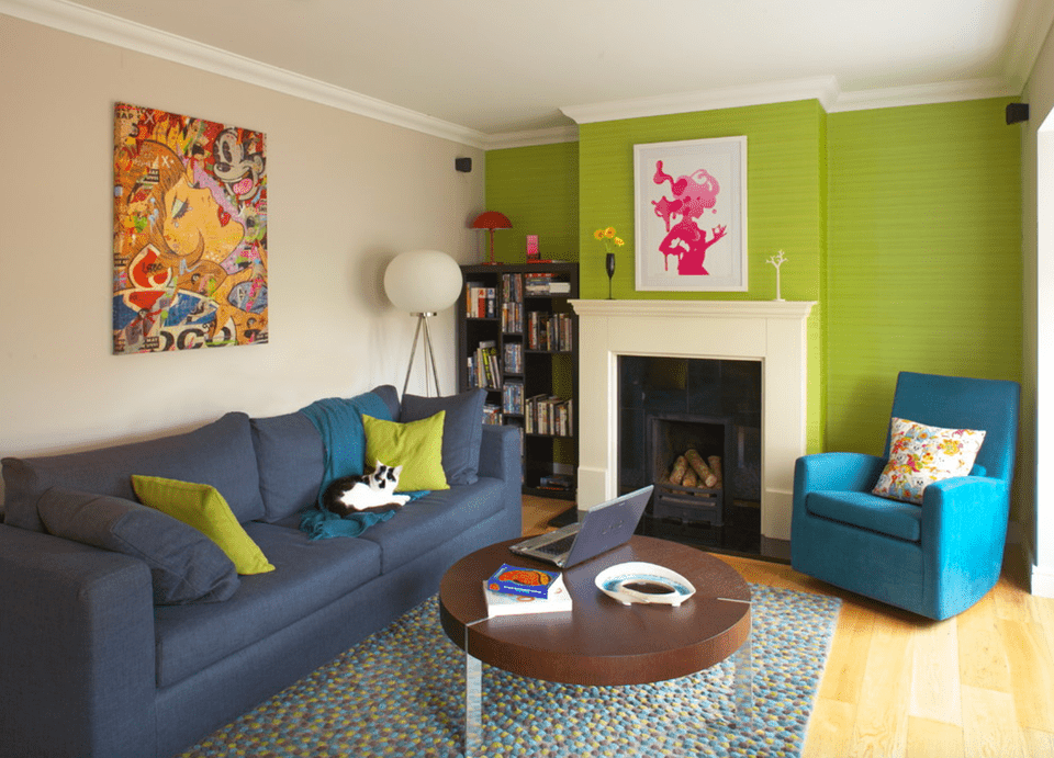Lime Green Living Room Accent Wall